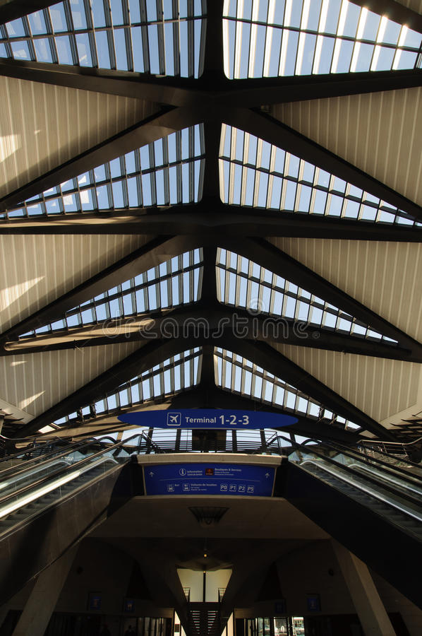 Lyon-Saint Exupéry Airport - Escalator to terminals. Lyon-Saint Exupéry Airport - Escalator from train station to terminals stock photo