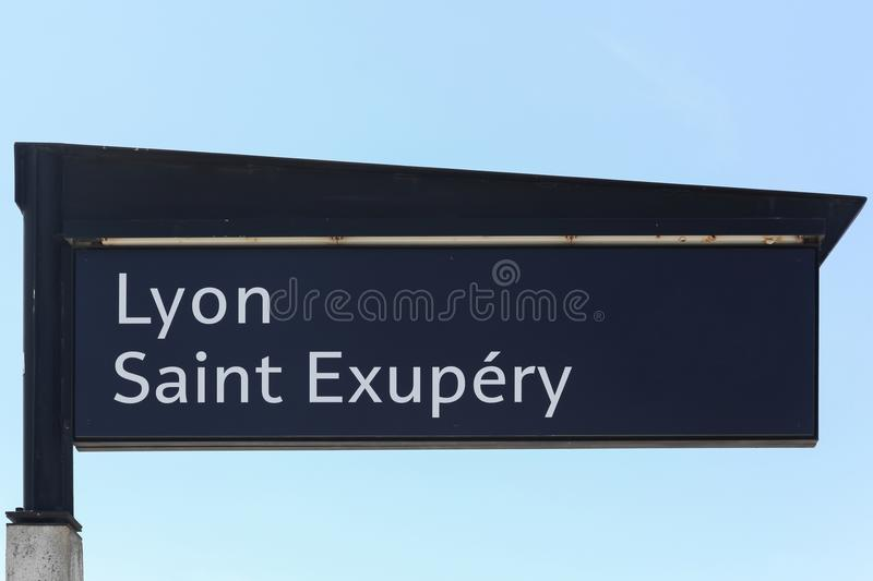 Lyon Saint Exupery airport and railway station panel in Lyon stock photography