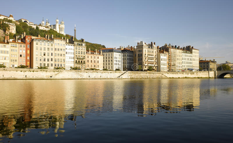 Lyon: Saone river bank. France, Lyon: Saone river bank stock photography