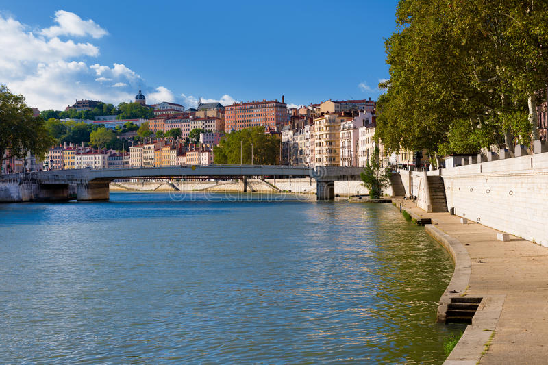 Lyon and Saone river. Colorful houses and Saone river in Lyon royalty free stock images