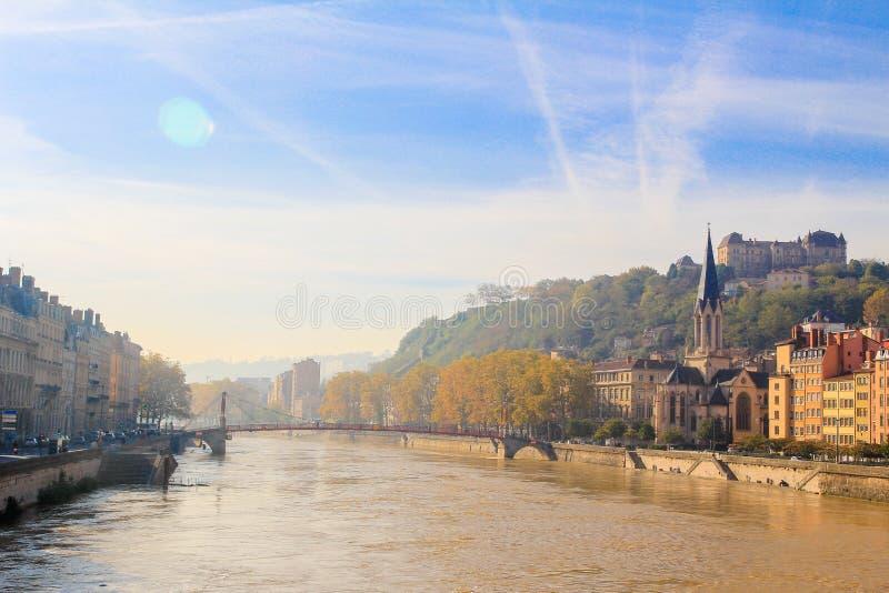 Lyon und der Fluss Soane stockfotografie