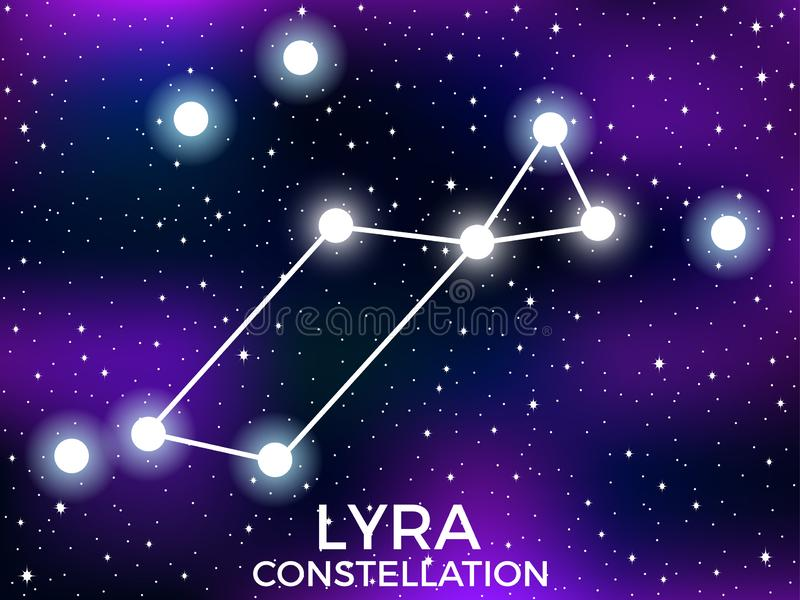 Lyra constellation. Starry night sky. Cluster of stars and galaxies. Deep space. Vector. Illustration royalty free illustration