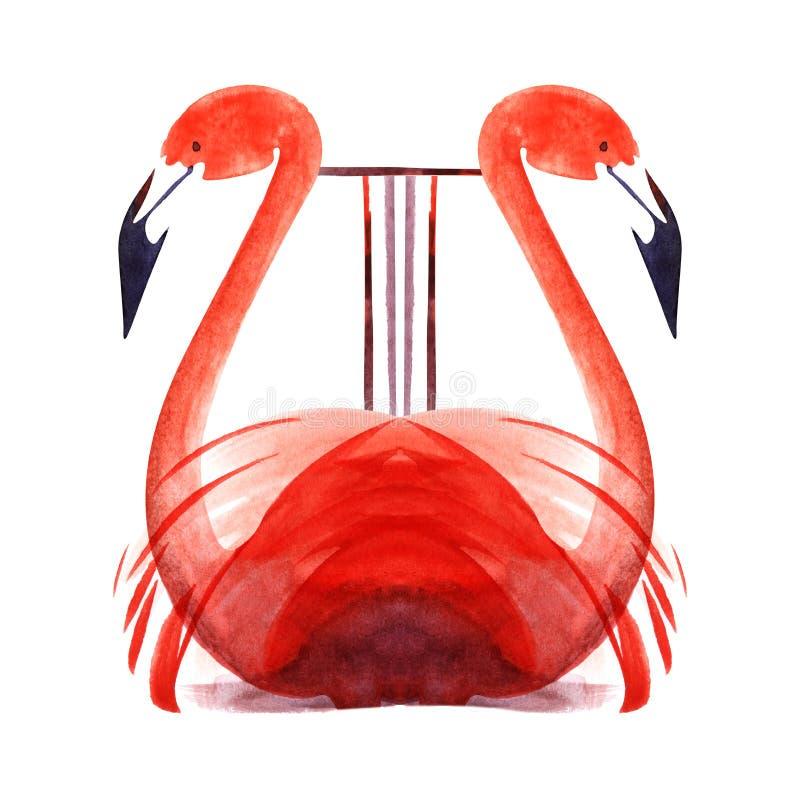 Lyra feita de flamingos cor-de-rosa Bico preto Instrumento Musical Estilizado Estranho Ilustração decorativa de aquarela desenhad ilustração do vetor