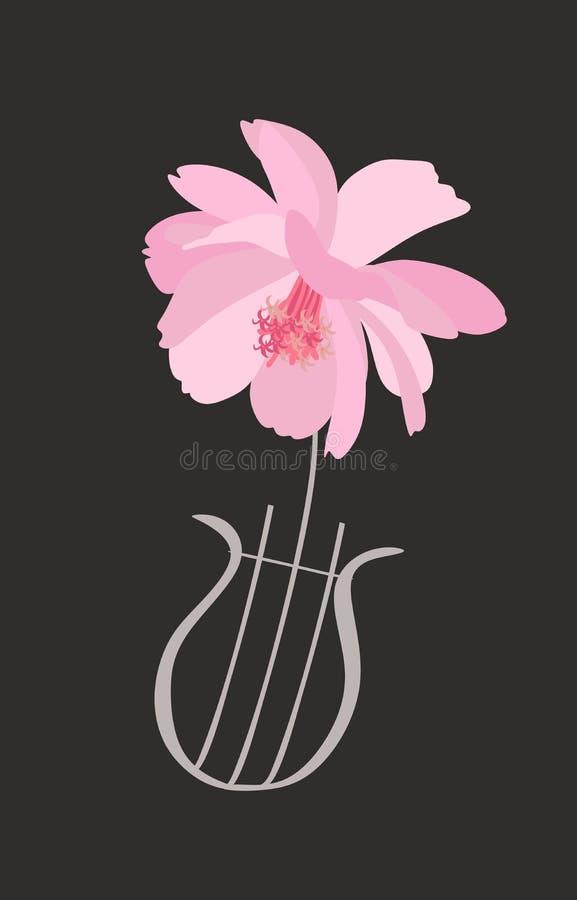 Lyre dans la forme de la fleur rose douce de cosmos d'isolement sur le fond noir dans le vecteur Carte de salutation ou d'invitat illustration de vecteur