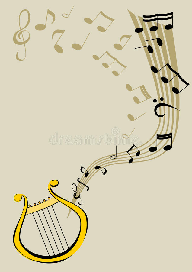 Lyre And Notes Royalty Free Stock Photography