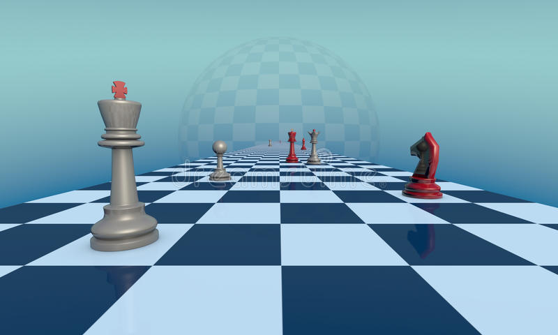 Lyrical chess composition. Chess pieces on a fantastic turquoise background. Lyrical scene. 3d illustration. Available in high-resolution and several sizes to royalty free illustration
