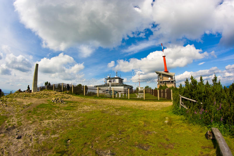 Lysa hora. Summit, the highest mountain of Beskydy, fisheye view royalty free stock images