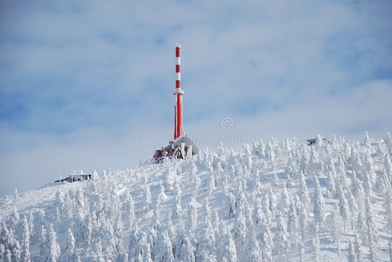 Lysa hora. Transmitter outlook tower lysa hora in beskydy mountains winter stock image