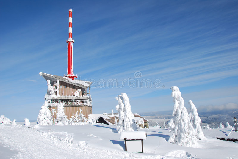Lysa hora. Transmitter outlook tower lysa hora in beskydy mountains winter royalty free stock image