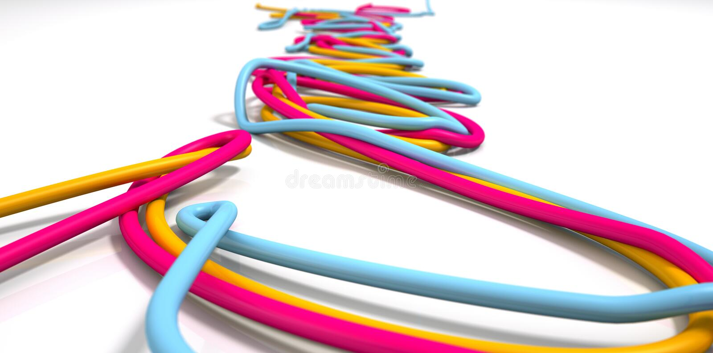 Lysande kabelCloseup vektor illustrationer