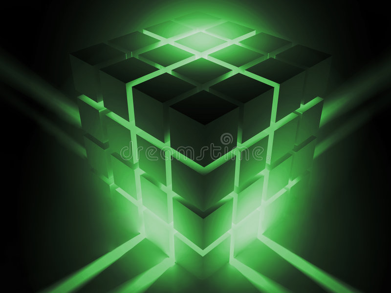 lysande kub royaltyfri illustrationer