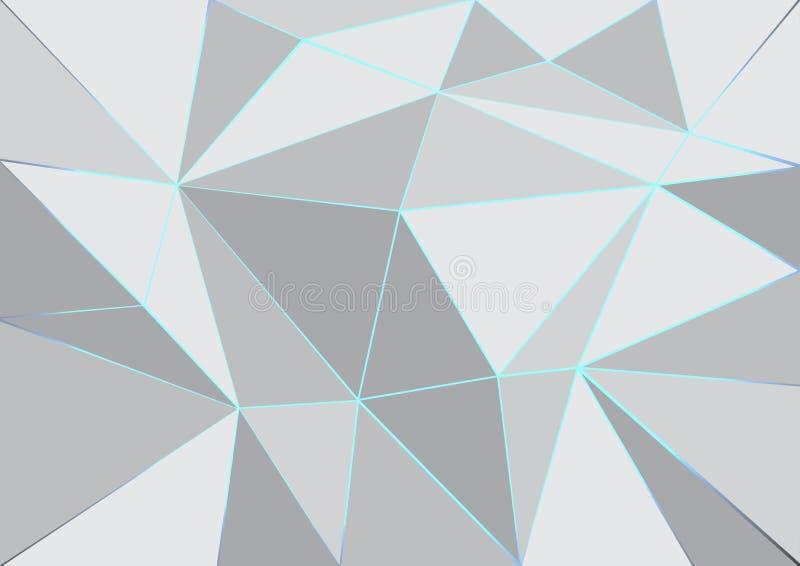 Lysande linjer och vit och grå abstrakt bakgrund för geometrisk färg stock illustrationer