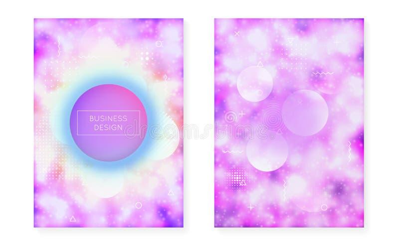 Lysande räkning med vätskeneonformer Purpurfärgad vätska Fluorescerande bakgrund med bauhauslutning vektor illustrationer