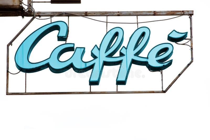 Lysande tänt teckenkaffe royaltyfri fotografi