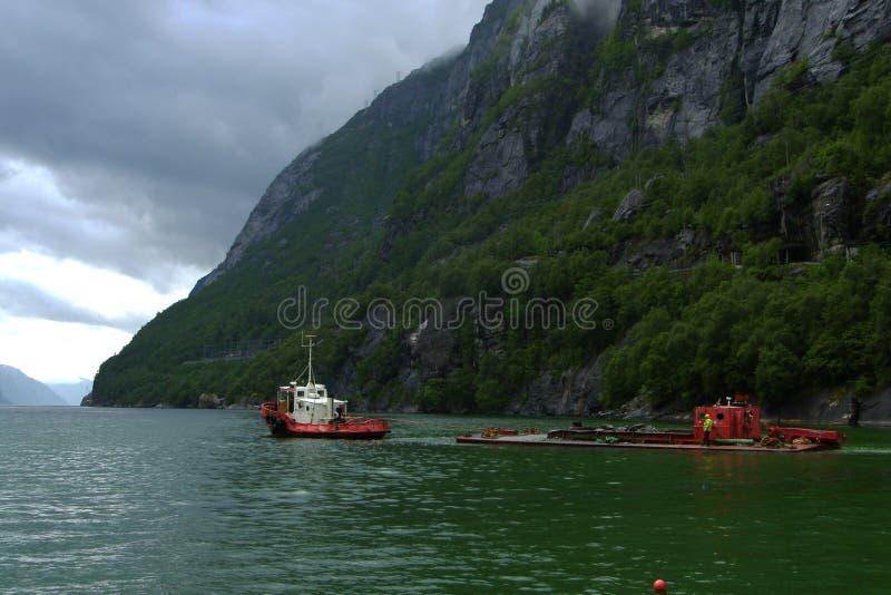 Lysefjorden statki fotografia royalty free