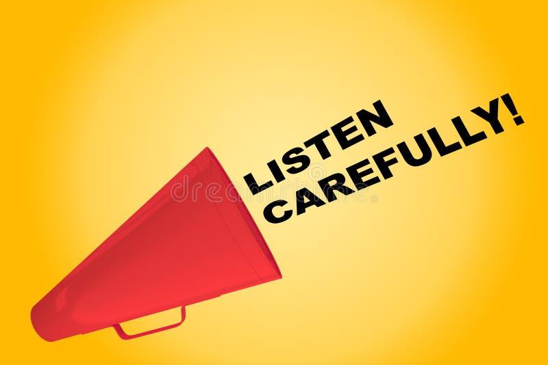 Lyssna försiktigt! begrepp royaltyfri illustrationer