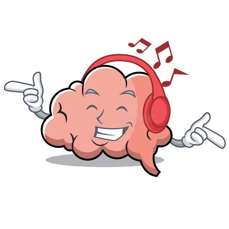 Lyssnande maskot för tecknad film för musikhjärntecken royaltyfri illustrationer