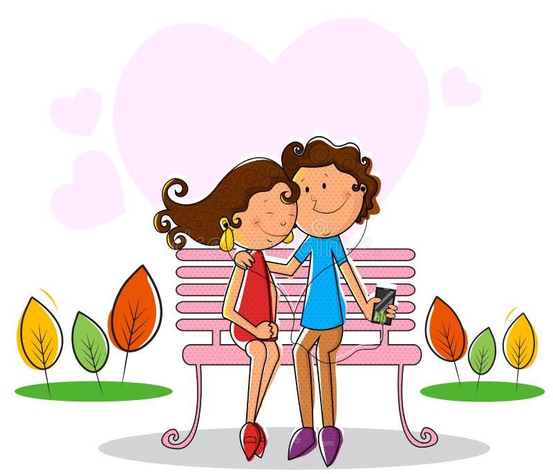 Lyssnande musik för förälskelsepar till och med hörluren stock illustrationer