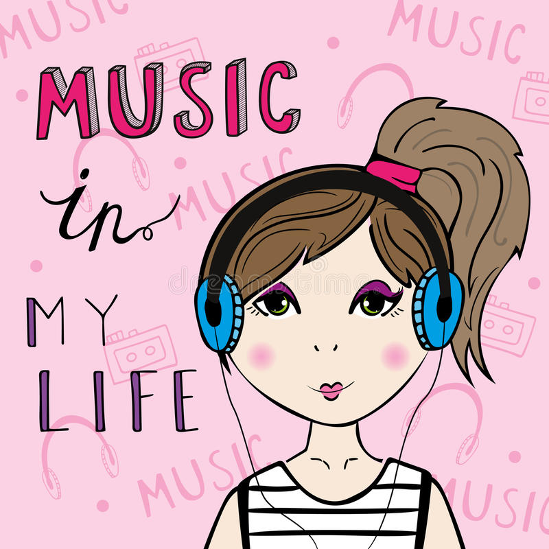 lyssnande musik för flicka till stock illustrationer