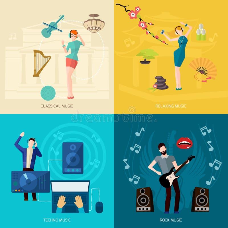 Lyssnande musik för folk stock illustrationer