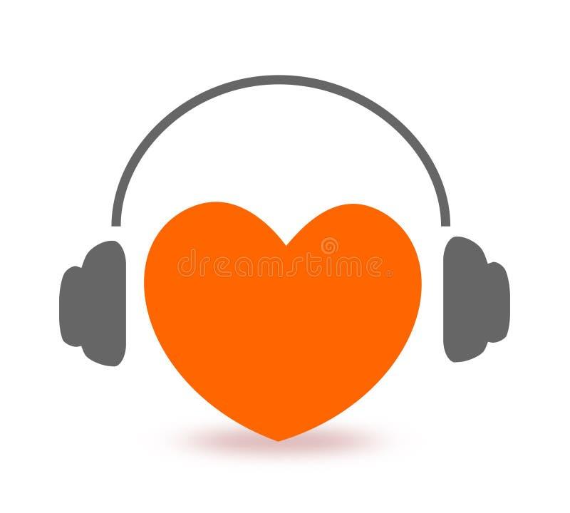 lyssnande musik för hjärta till royaltyfri illustrationer