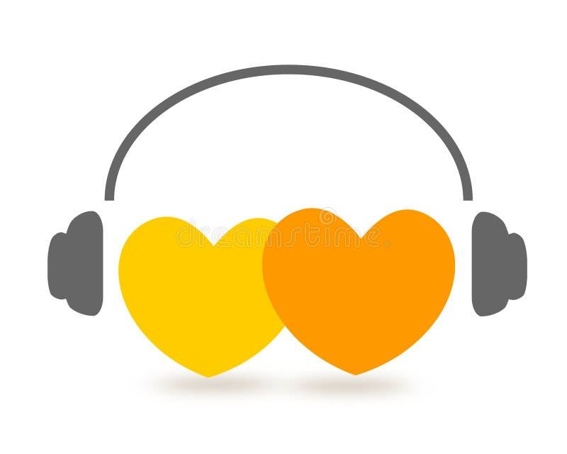 lyssnande musik för hjärtor till två royaltyfri illustrationer