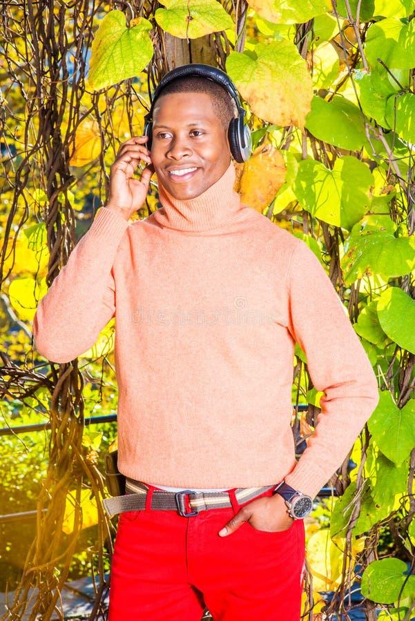 Lyssnande musik för ung afrikansk amerikanman i Central Park som är ny arkivbild