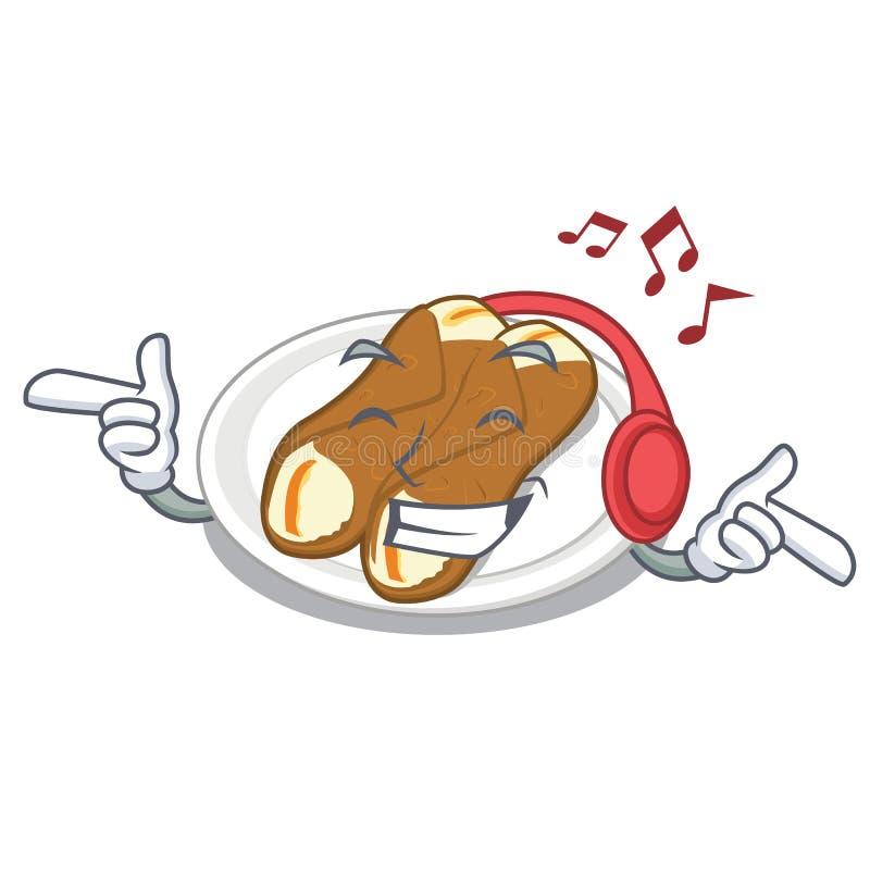 Lyssnande musikcannoli som isoleras med i teckenet stock illustrationer