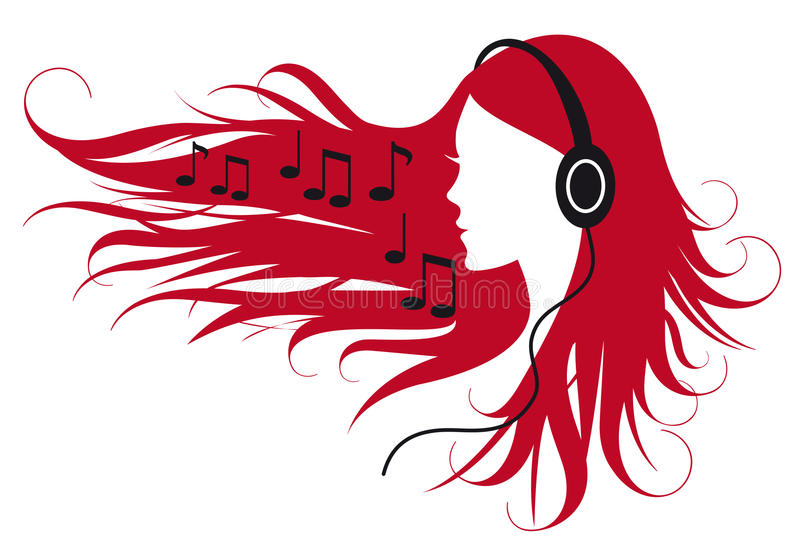 lyssnande musikkvinna vektor illustrationer