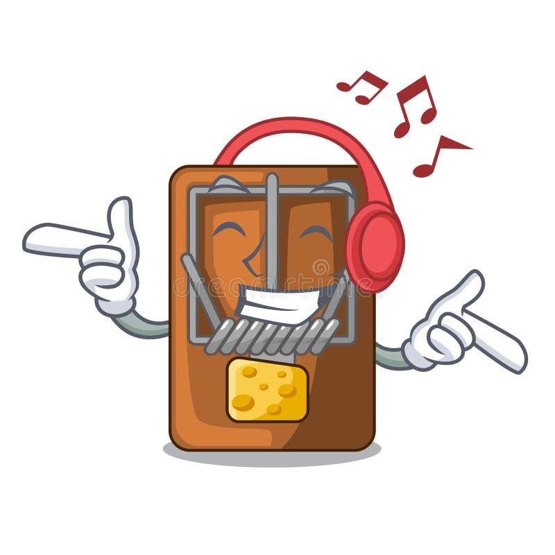 Lyssnande musikråttfälla som isoleras med i tecknade filmen stock illustrationer