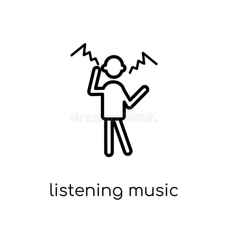 Lyssnande musiksymbol Moderiktig modern plan linjär vektor som lyssnar vektor illustrationer