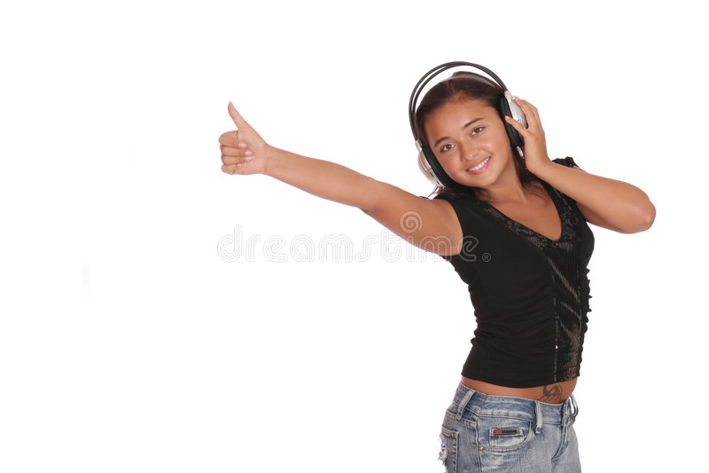 lyssnande musikvinna arkivfoton