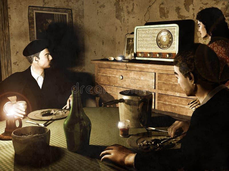 lyssnande radio till royaltyfri illustrationer