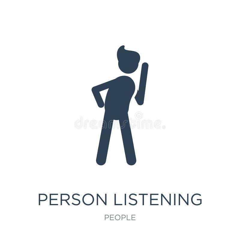 lyssnande symbol för person i moderiktig designstil lyssnande symbol för person som isoleras på vit bakgrund lyssnande vektorsymb stock illustrationer