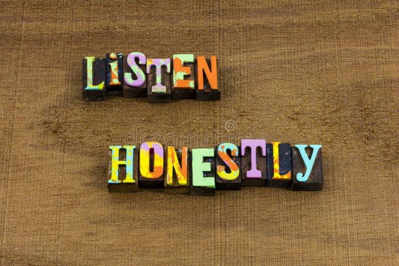 Lyssnar ärligt bra lyssnarevanor som konversation lär uttryck arkivfoto