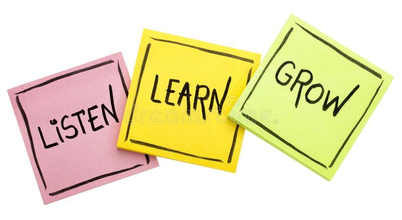 Lyssnar, lär, växer - rådgivning eller påminnelsen arkivbilder