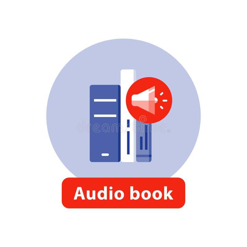 Lyssnar litteratur, den plana symbolen för talboken, den öppnade boken, vektorillustration vektor illustrationer
