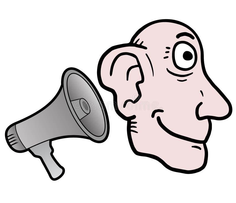 Lyssnar megafonen vektor illustrationer