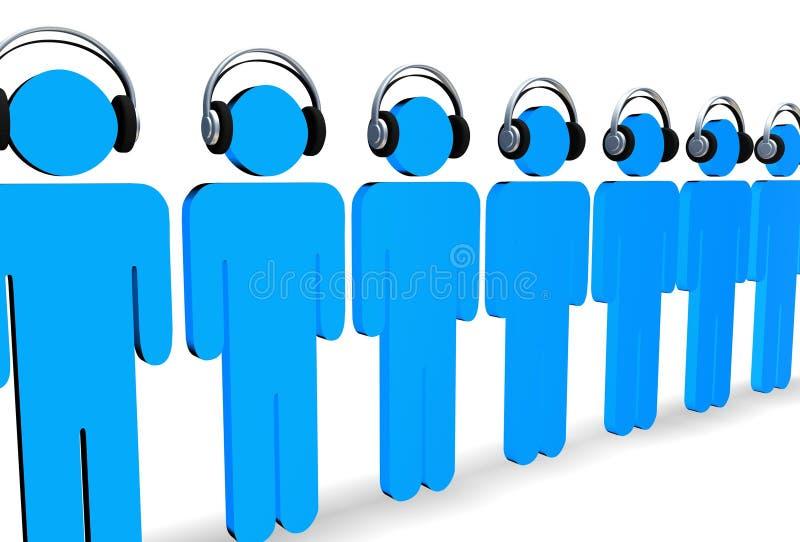 lyssnar musik till stock illustrationer
