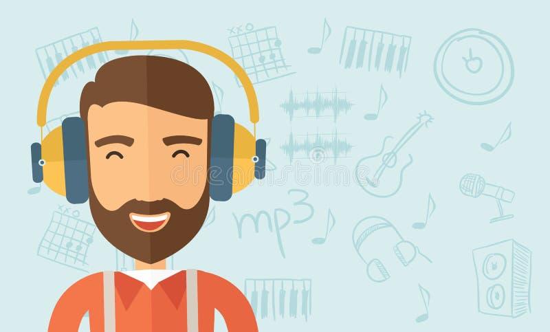 lyssnar musik till vektor illustrationer