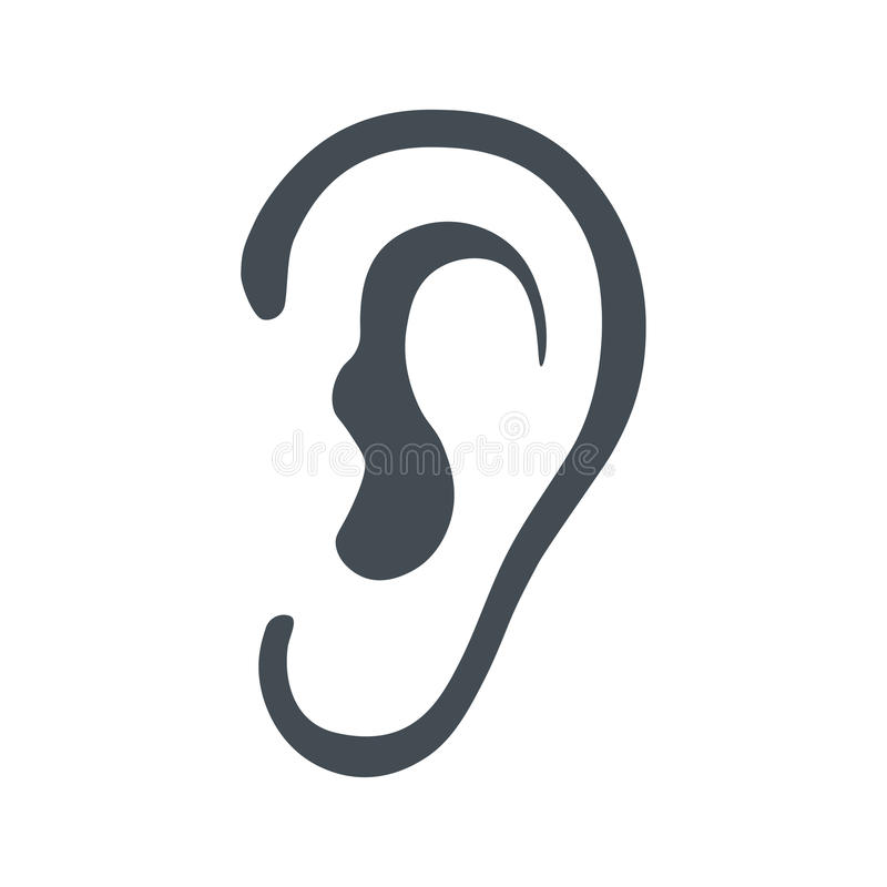 Lyssnar symbolet som isoleras på vit bakgrund vektor illustrationer