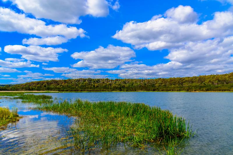 Lysterfield lake near Melbourne, Victoria, australia. Beautiful sky and Lysterfield lake in Narre Warren, suburb near Melbourne, Victoria, Australia stock photography