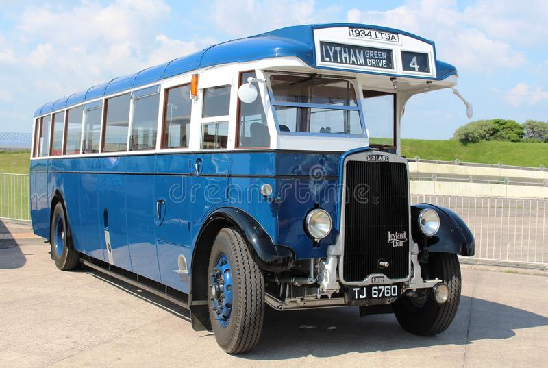 Lytham St Annes Leyland Lion LT5A single deck bus. On the promenade at Morecambe during the Vintage Bus Running Day on Sunday 29th May 2016 royalty free stock photography