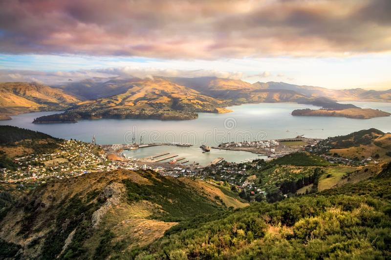 Lyttelton Harbour Christchurch New Zealand. Afternoon photo of Lyttelton Harbour Christchurch New Zealand on a cloudy day royalty free stock image