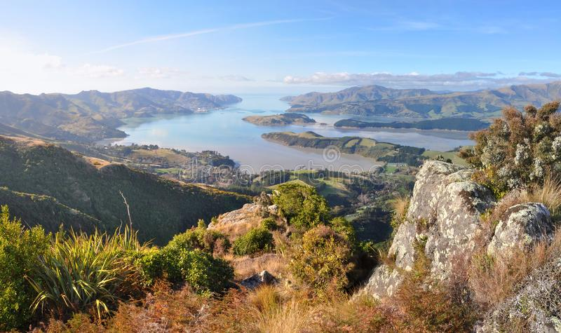 Lyttelton Harbour Panorama, Christchurch, New Zealand. royalty free stock photo