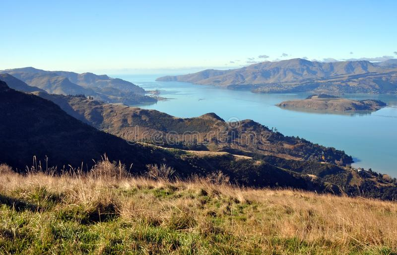 Lyttelton Harbour on a Perfect Autumn Day, Christchurch, New Zealand stock image