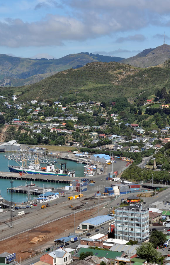 Lyttleton Wharfs, Christchurch Nieuw Zeeland royalty-vrije stock foto's