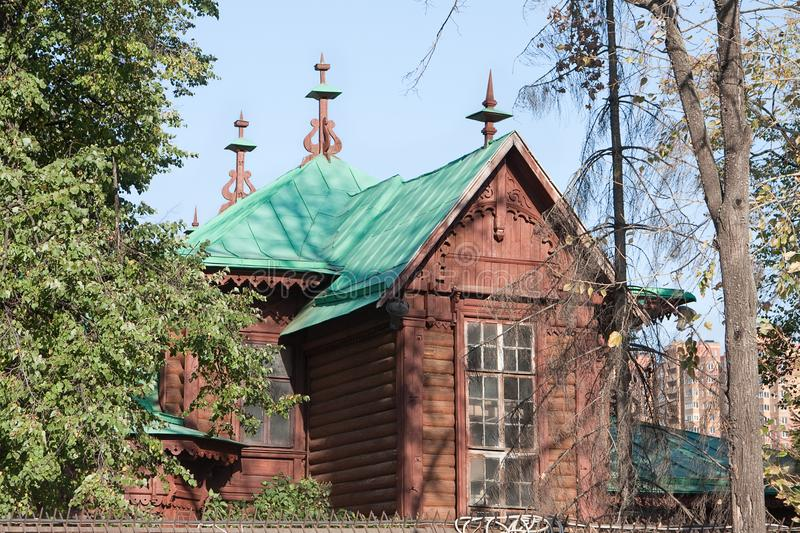Lyubertsy. Moscow region, Russia. Krumming house in which in nineteen hundred and twentieth year been Vladimir Lenin. Wooden art modern building, formerly owned stock image