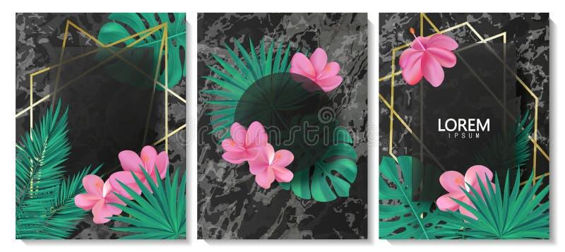 Lyx cards samlingen med marmortextur, tropiska sidor, blommor och geometrisk form Moderiktig bakgrund för vektor Modern uppsättni stock illustrationer