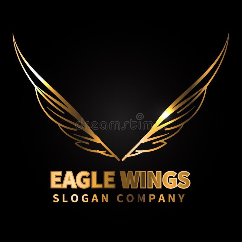 Lyx för design för Eagle guld- vinglogo på svart bakgrundsvektor vektor illustrationer